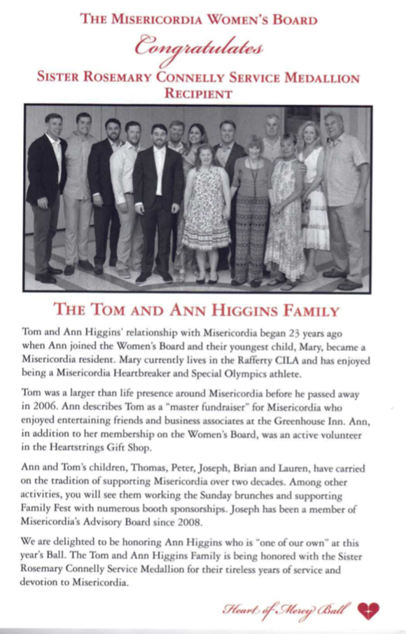 Tom & Ann Higgins Family Recipient of the Sister Rosemary Connelly Service Medallion